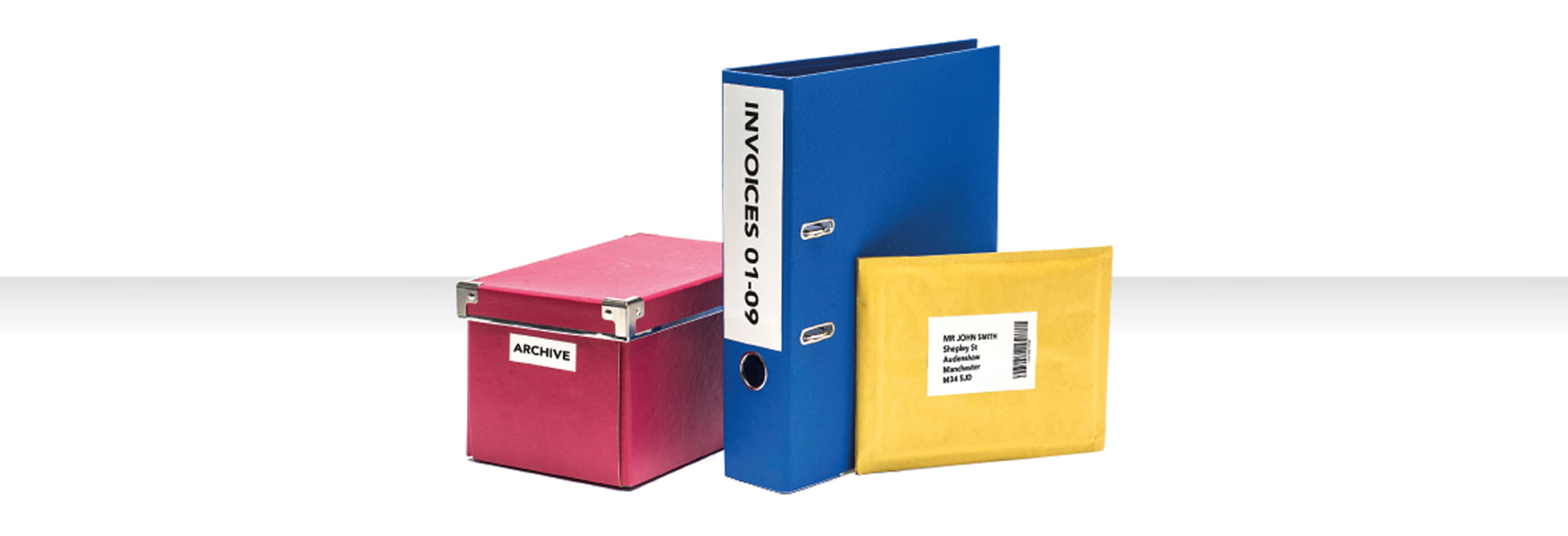 Labels on folders and stationery