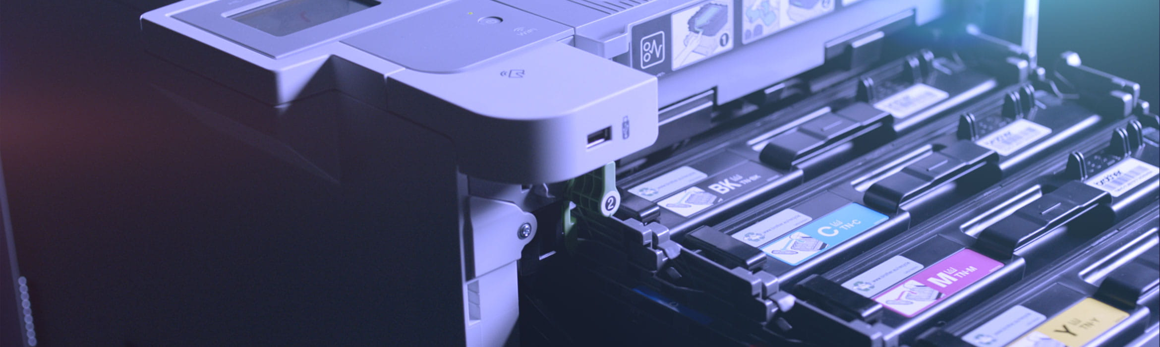 Brother HL-L9310CDW business printer with toner cartridges pulled out from printer