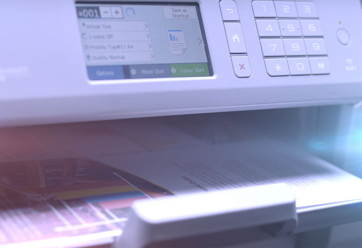 Brother MFC-J6947DW business A3 and A4 inkjet printer with print options on LCD screen