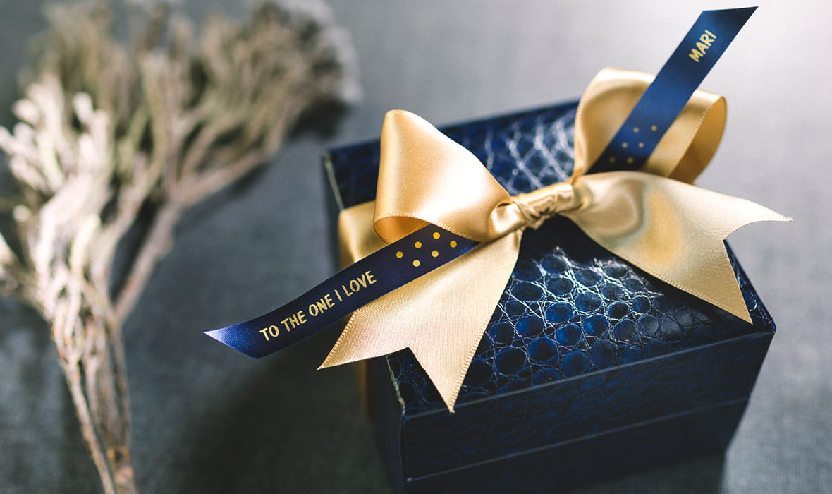Wedding gift box personalised with a Brother gold on navy blue ribbon