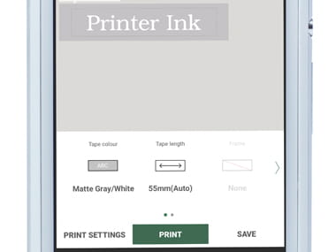 P-touch Design&Print app zoomed in on smartphone, showing label being printed