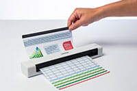 Brother DSmobile DS640 portable document scanner with document scanning, hand holding document