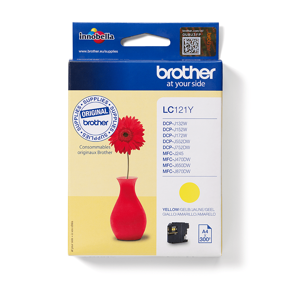 Cartouche d'encre LC121Y Brother originale – Jaune