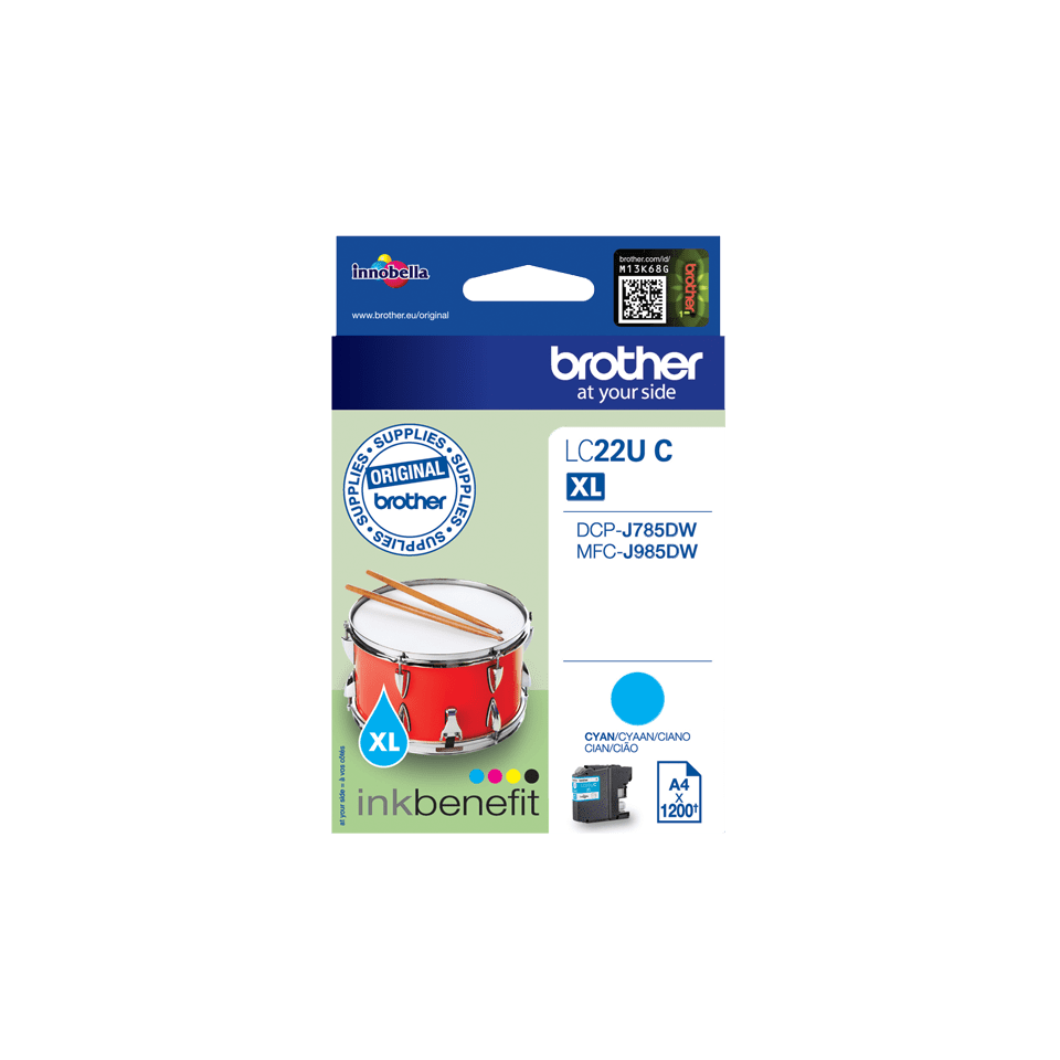 Cartouche d'encre LC22UC Brother originale – Cyan