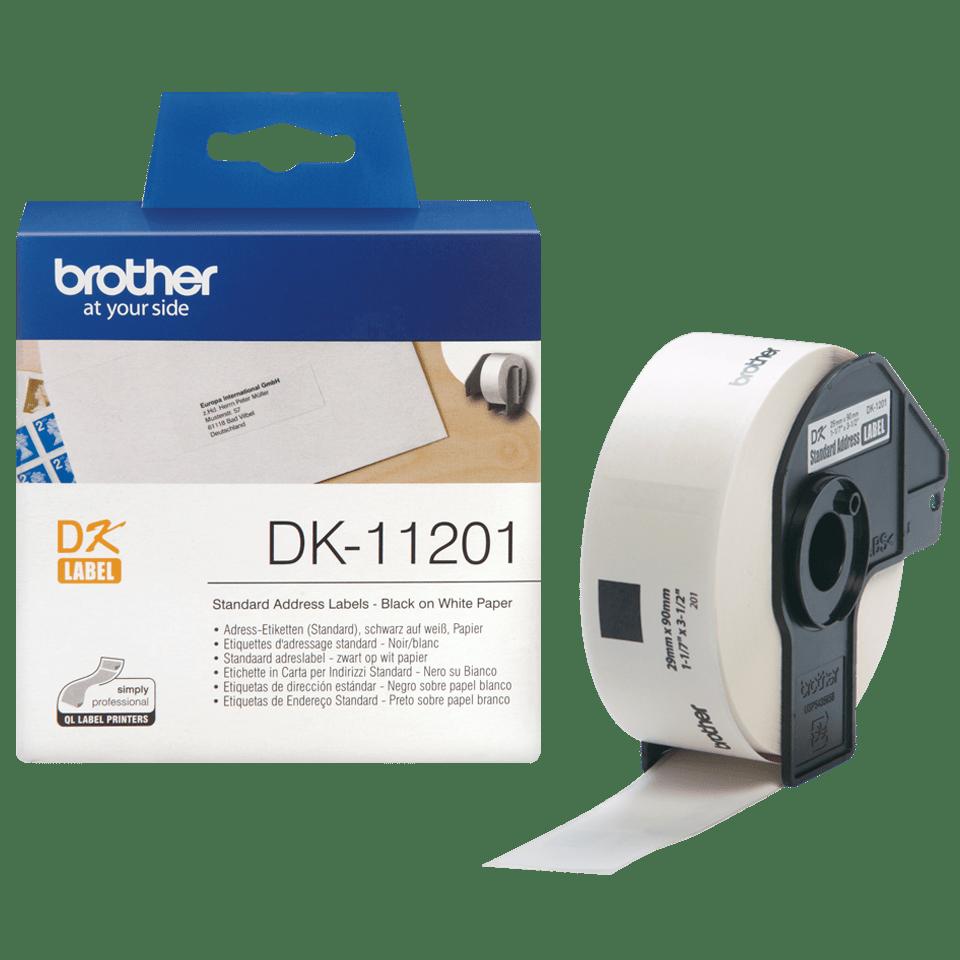 Rouleau d'étiquettes DK-11201 Brother original – Noir sur blanc, 29x90mm