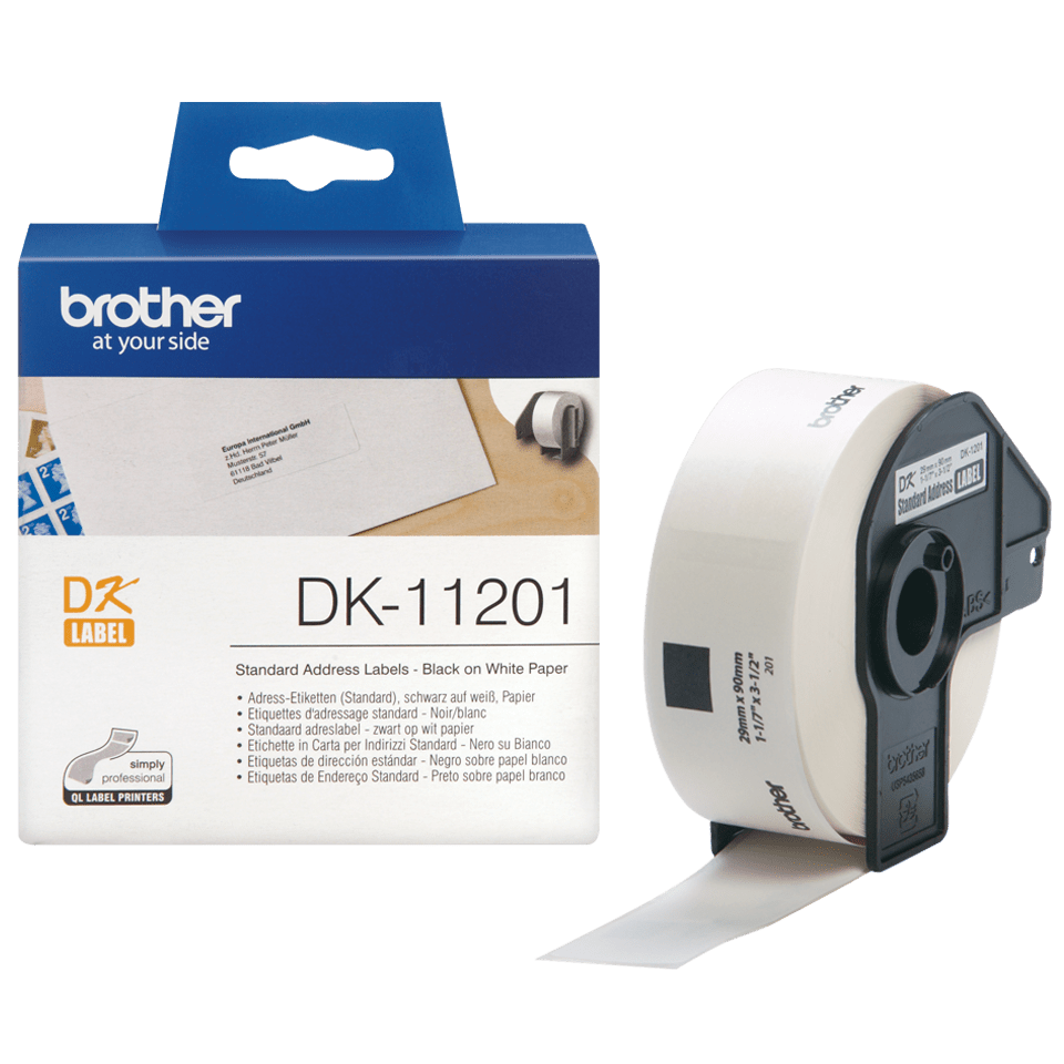 Original DK-11201 Adressetikettenrolle von Brother – Schwarz auf Weiß, 29×90mm