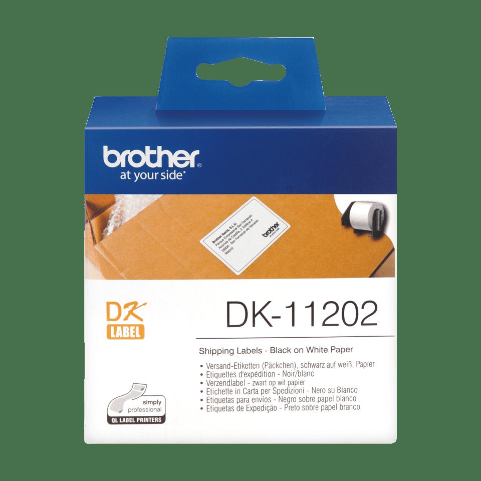 Original DK-11202 Versandetikettenrolle von Brother – Schwarz auf Weiß, 63 × 100mm