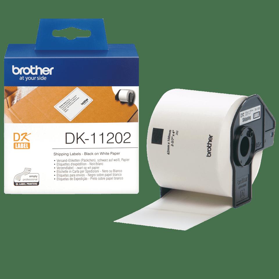 Original DK-11202 Versandetikettenrolle von Brother – Schwarz auf Weiß, 63 × 100mm 3