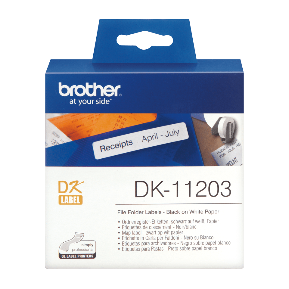 Original DK-11203 Ordnerregisteretikettenrolle von Brother – Schwarz auf Weiß, Papier, 17×87mm