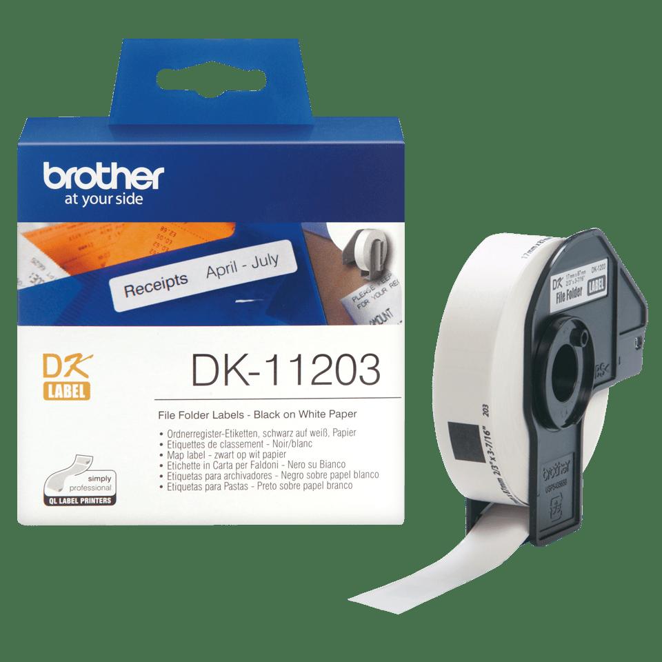 Rouleau d'étiquettes DK-11203 Brother original – Noir sur blanc, 17x87mm