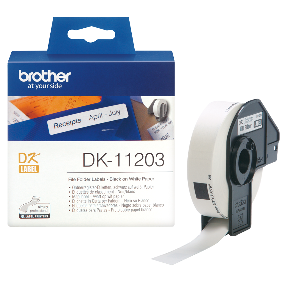 Original DK-11203 Ordnerregisteretikettenrolle von Brother – Schwarz auf Weiß, Papier, 17×87mm 3