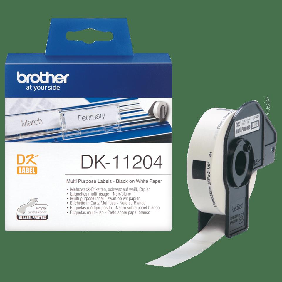 Original DK-11204 Mehrzwecketikettenrolle von Brother – Schwarz auf Weiß, Papier, 17×54mm
