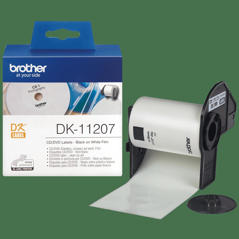 Original DK-11207 CD/DVD-Etikettenrolle von Brother – Schwarz auf Weiß, Film, Ø 58 mm