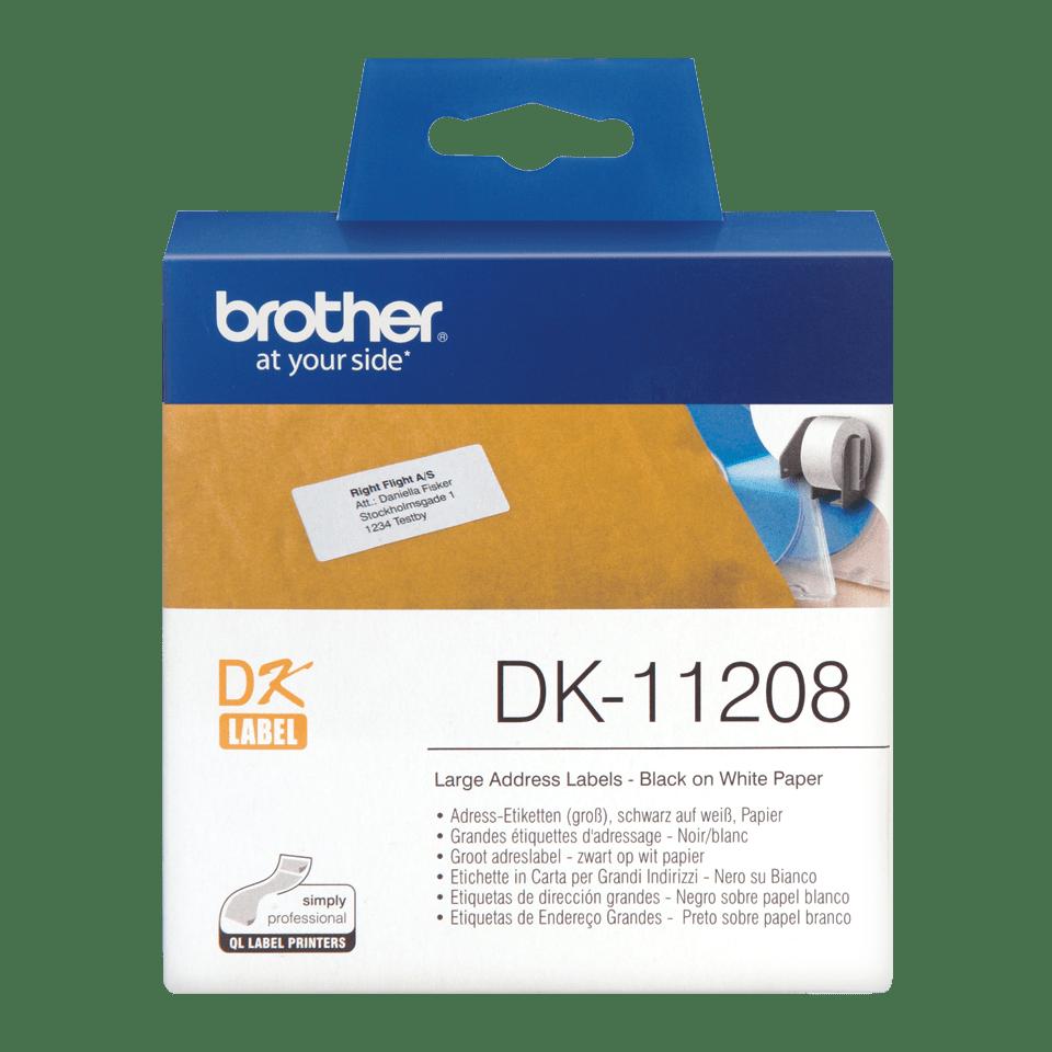 Original DK-11208 Adressetikettenrolle von Brother – Schwarz auf Weiß, Papier, 38×90mm 0