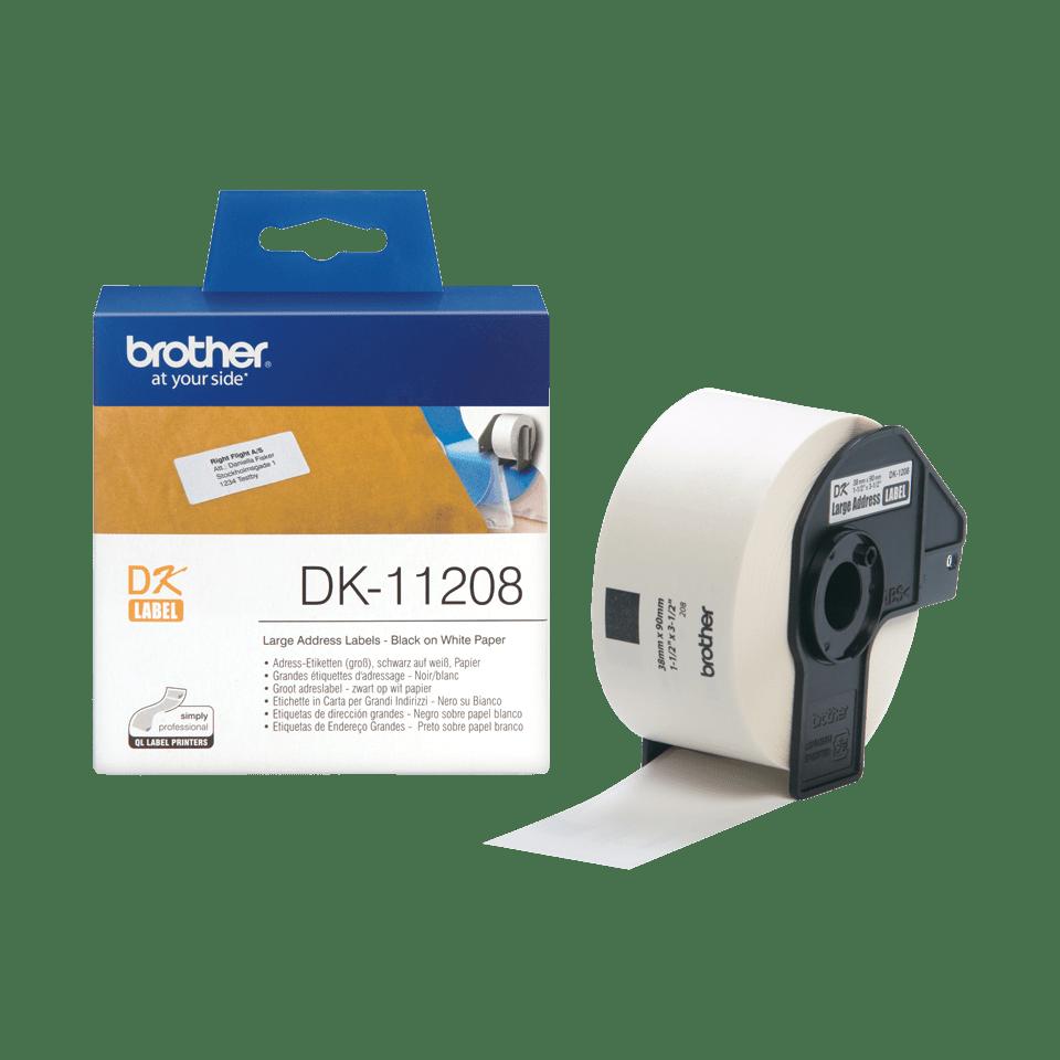 Original DK-11208 Adressetikettenrolle von Brother – Schwarz auf Weiß, Papier, 38×90mm
