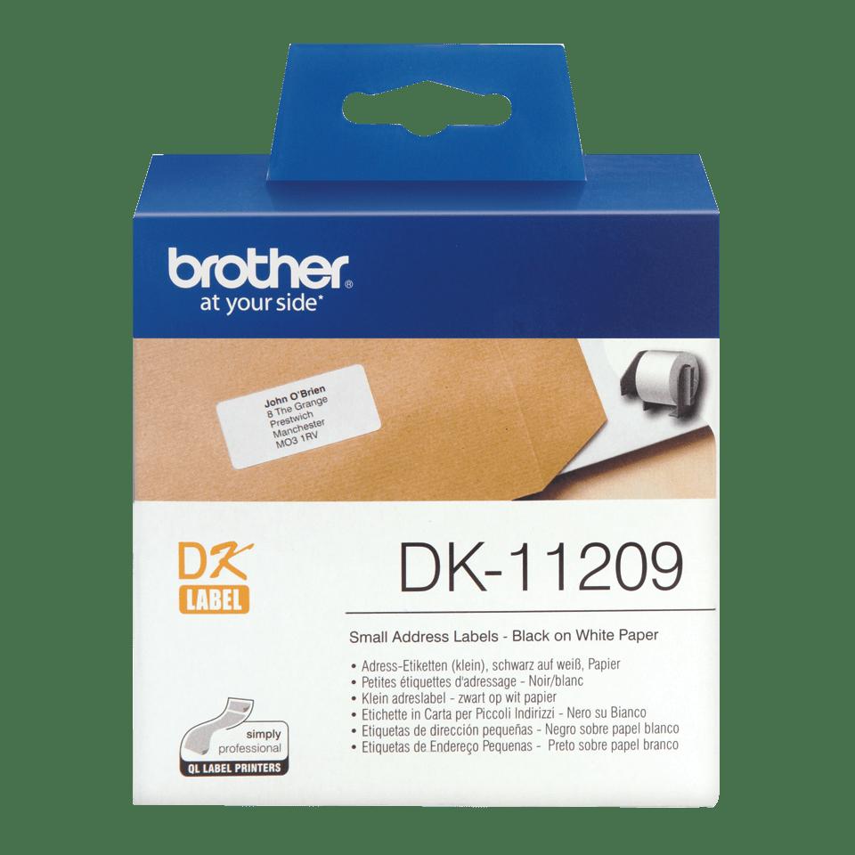 Original DK-11209 Adressetikettenrolle von Brother – Schwarz auf Weiß, Papier, 29 × 62mm