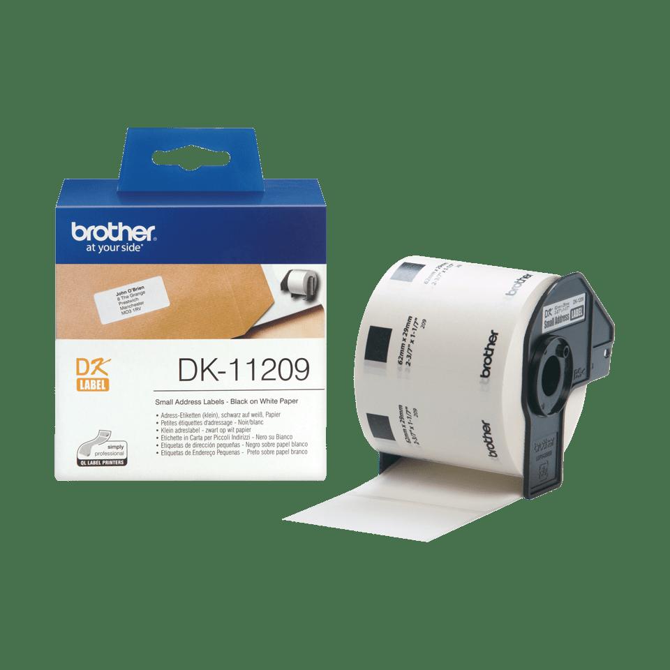 Original DK-11209 Adressetikettenrolle von Brother – Schwarz auf Weiß, Papier, 29 × 62mm 3