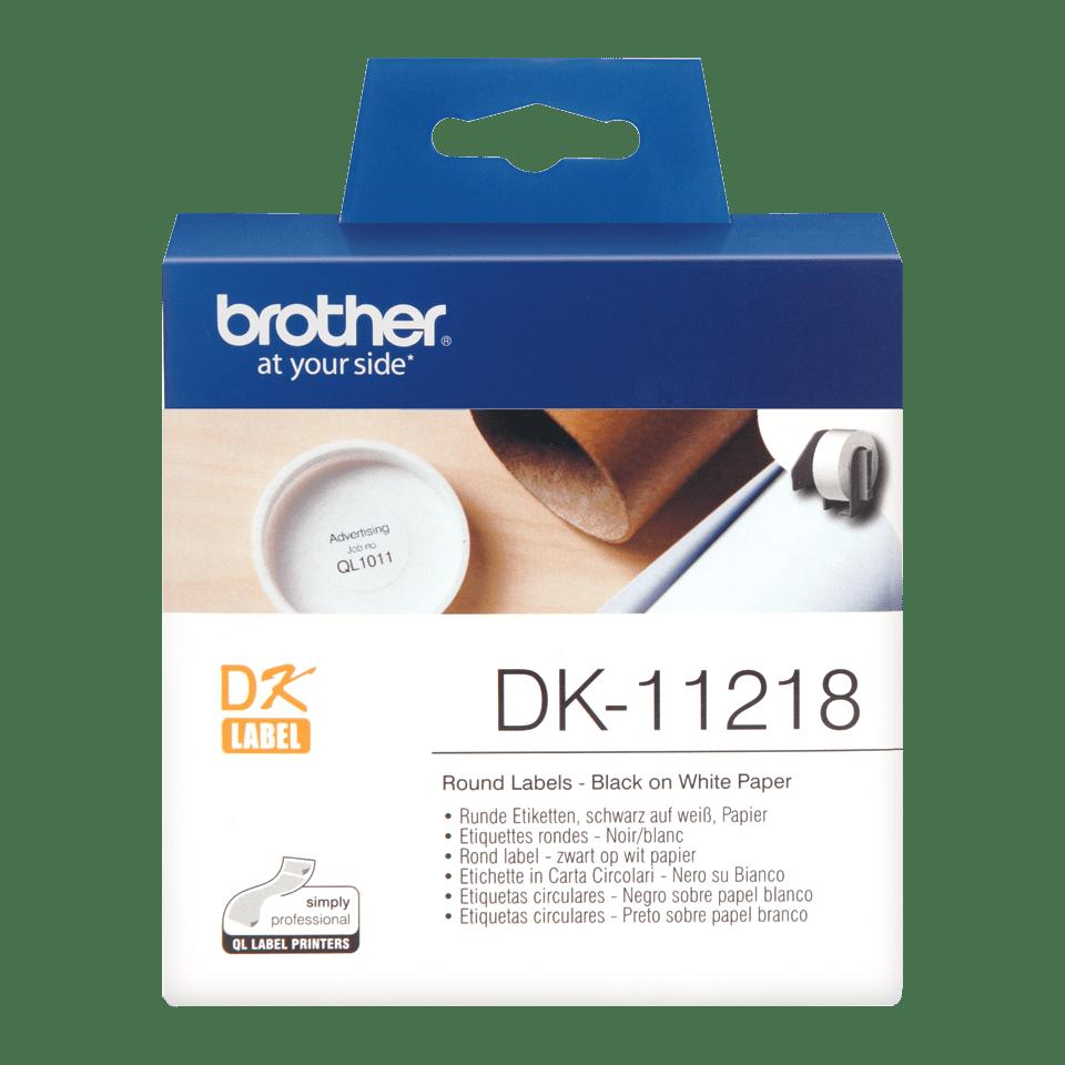 Original DK-11218 Rolle mit runden Etiketten von Brother – Schwarz auf Weiß, Papier, Ø24mm