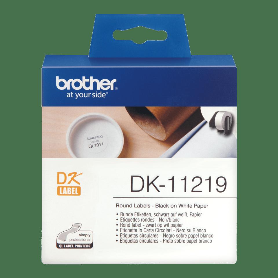 Rouleau d'étiquettes DK-11219 Brother original – Noir sur blanc, 12mm de diamètre