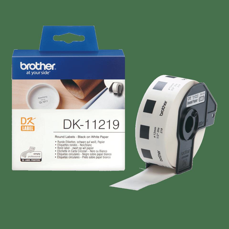 Original DK-11219 Rolle mit runden Etiketten von Brother – Schwarz auf Weiß, Papier, Ø12mm 3