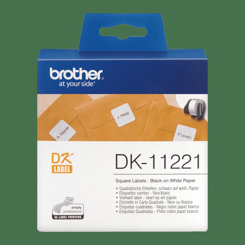 Original DK-11221 Rolle mit quadratischen Etiketten von Brother – Schwarz auf Weiß, Papier, 23 × 23mm