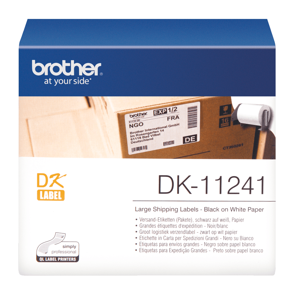 Original DK-11241 Versandetikettenrolle von Brother – Schwarz auf Weiß, Papier, 102 × 152mm