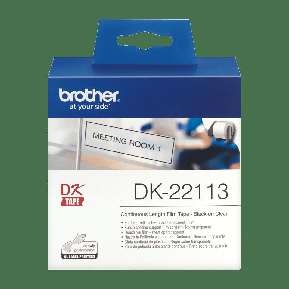 Original DK-22113 Endlosetikettenrolle von Brother – Schwarz auf Transparent, Film, 62mm breit 2