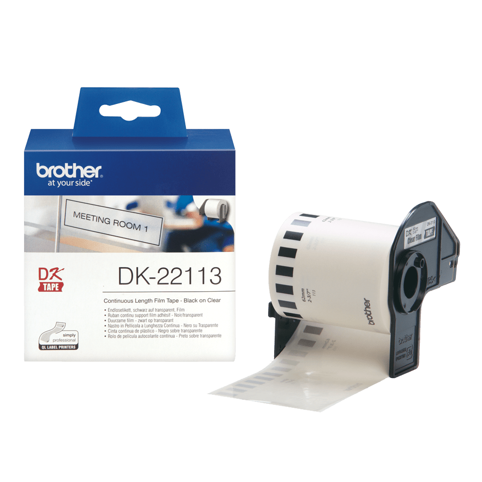 Rouleau de film continu DK-22113 Brother original – Noir sur transparent, 62 mm. 3