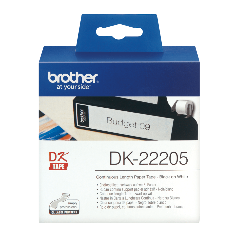 Rouleau de papier continu DK-22205 Brother original – Noir sur blanc, 62 mm de large