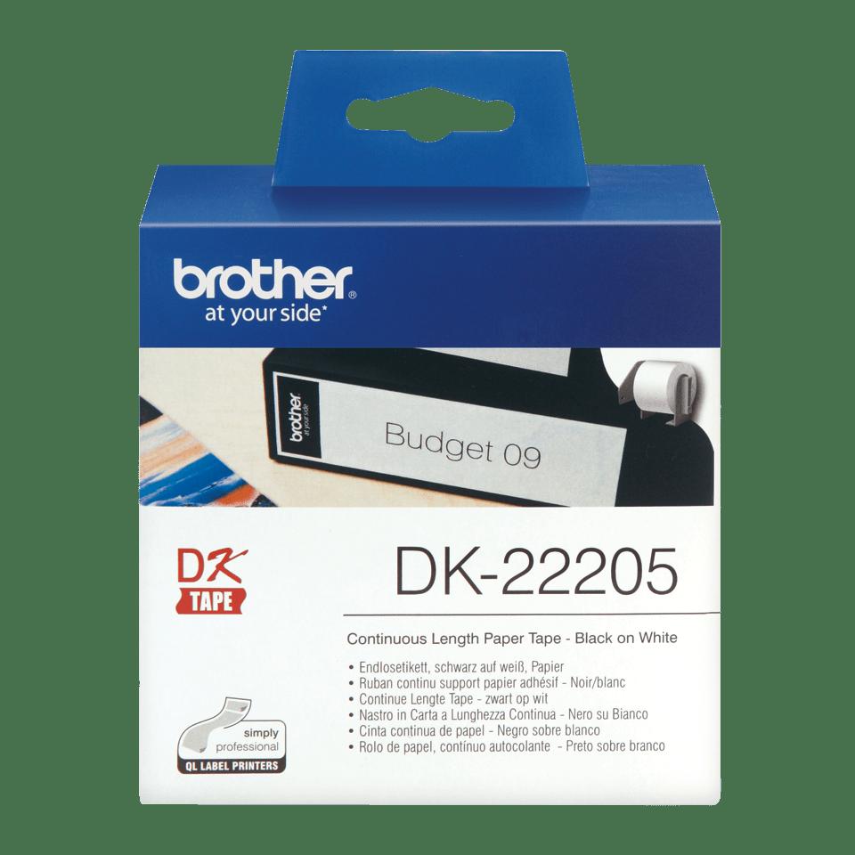 Original DK-22205 Endlosetikettenrolle von Brother – Schwarz auf Weiß, Papier, 62mm breit