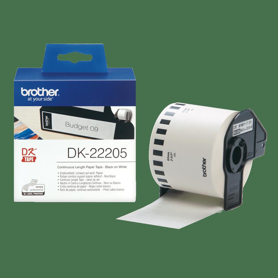 Rouleau de papier continu DK-22205 Brother original – Noir sur blanc, 62mm de large 3