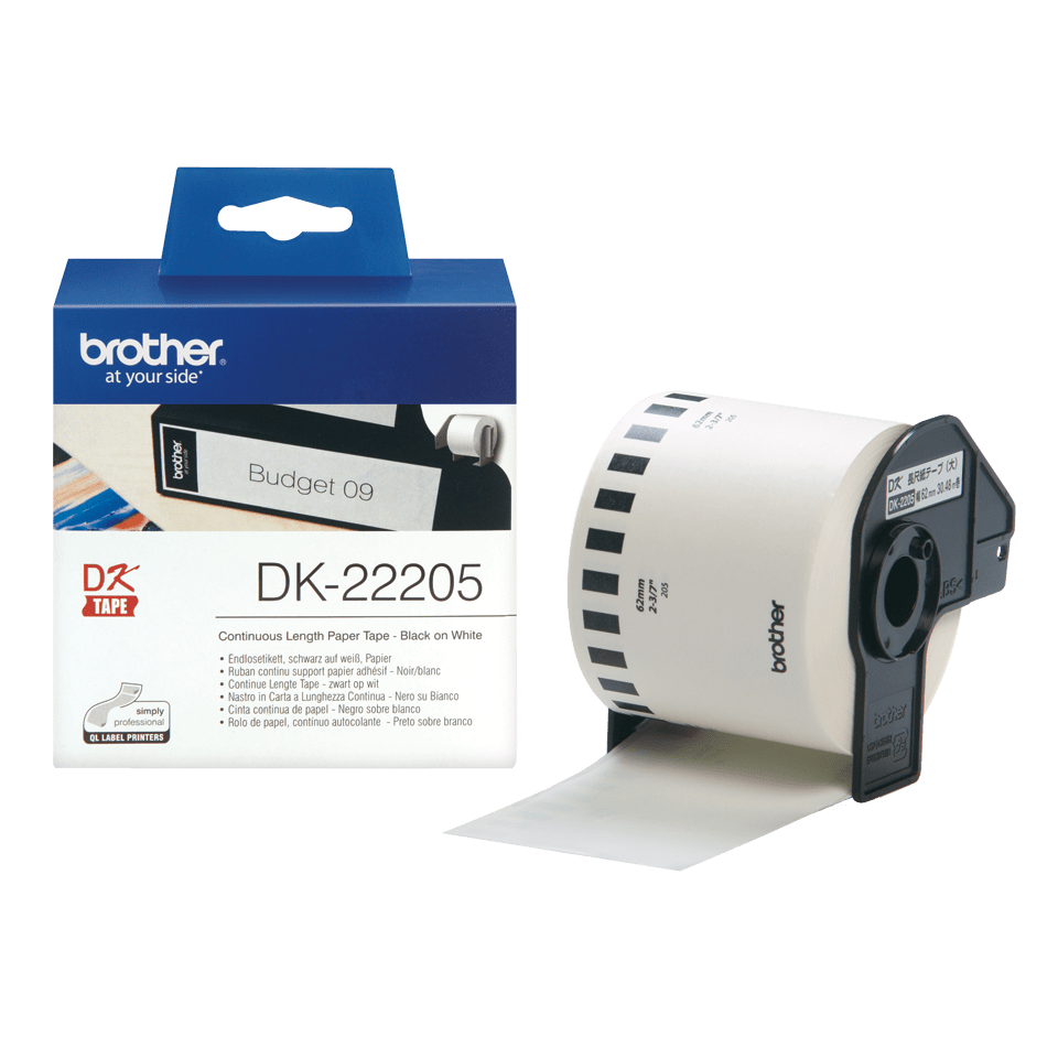 Original DK-22205 Endlosetikettenrolle von Brother – Schwarz auf Weiß, Papier, 62mm breit 3
