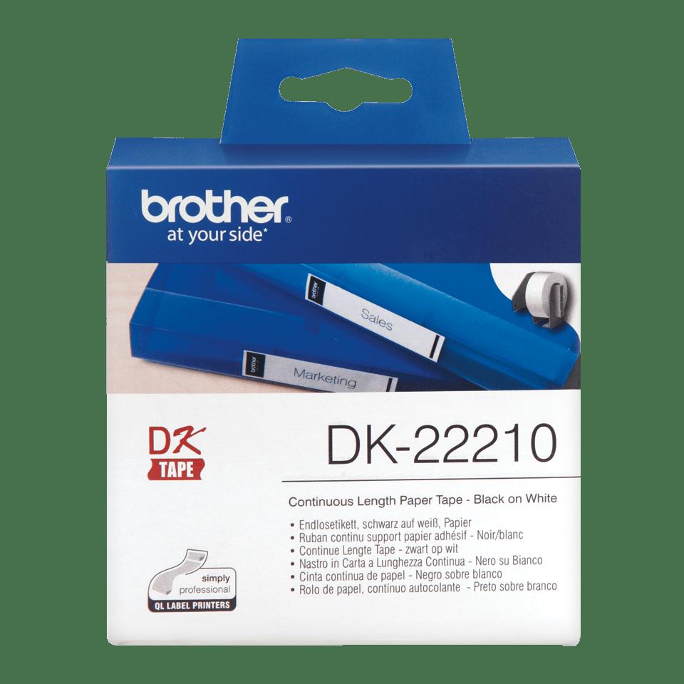 Rouleau de papier continu DK-22210 Brother original – Noir sur blanc, 29mm de large