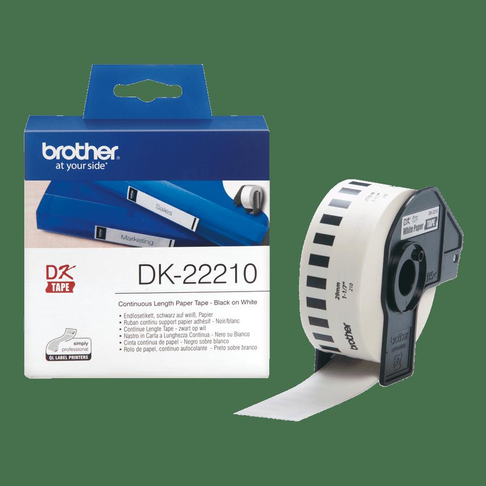 Original DK-22210 Endlosetikettenrolle von Brother – Schwarz auf Weiß, Papier, 29mm breit 3
