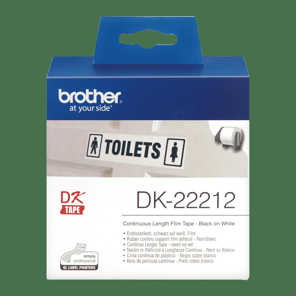 Rouleau de film continu DK-22212 Brother original – Noir sur blanc, 62mm