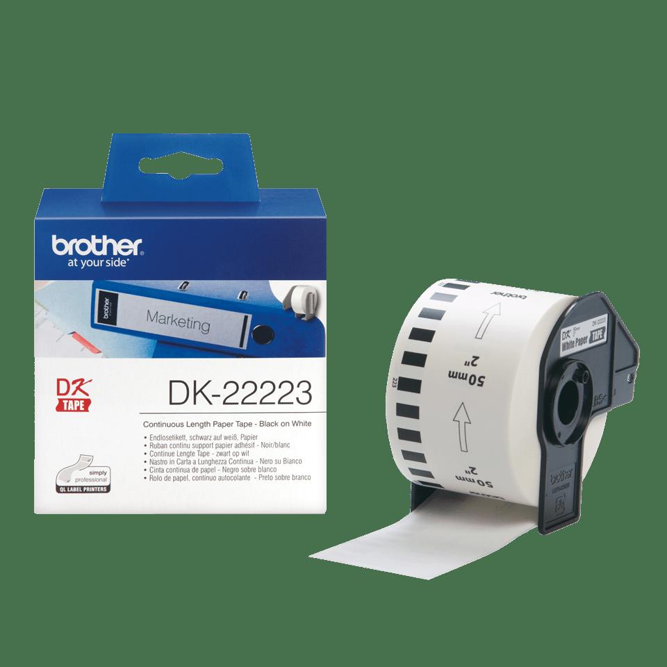Original DK-22223 Endlosetikettenrolle von Brother – Schwarz auf Weiß, Papier, 50mm breit