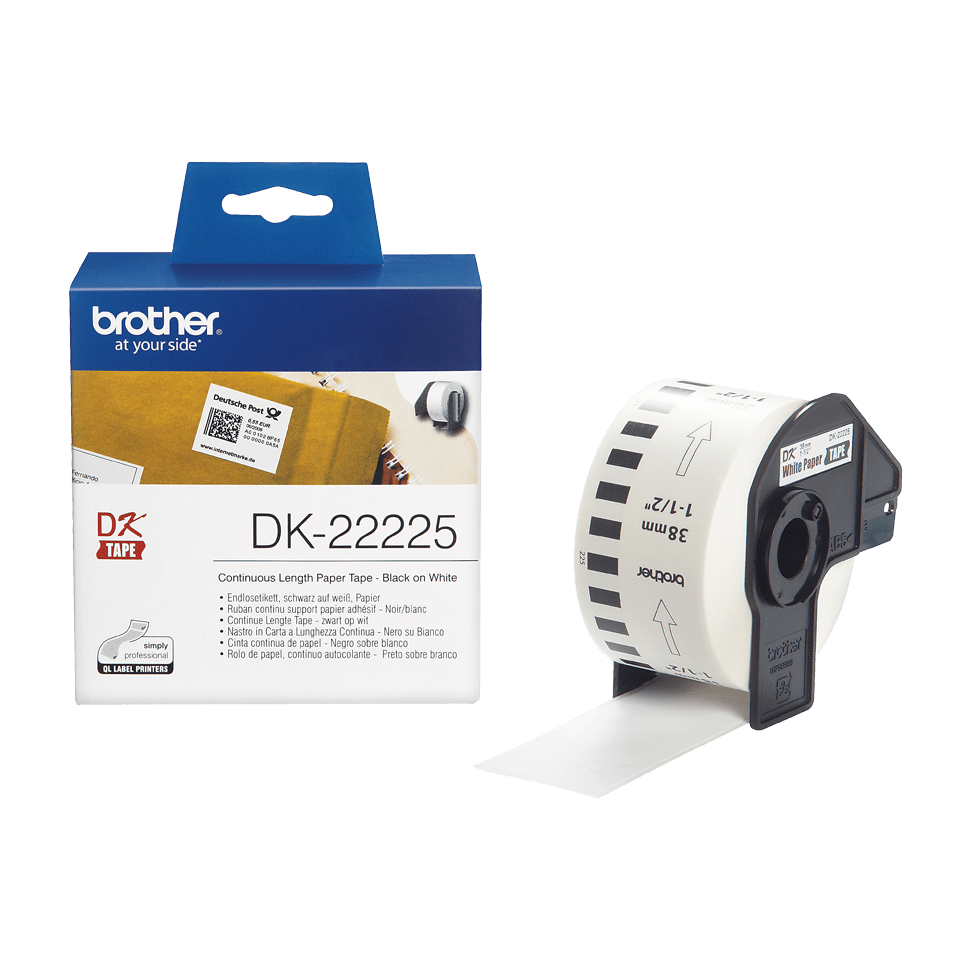 Rouleau de papier continu DK-22225 Brother original – Noir sur blanc, 38 mm de large
