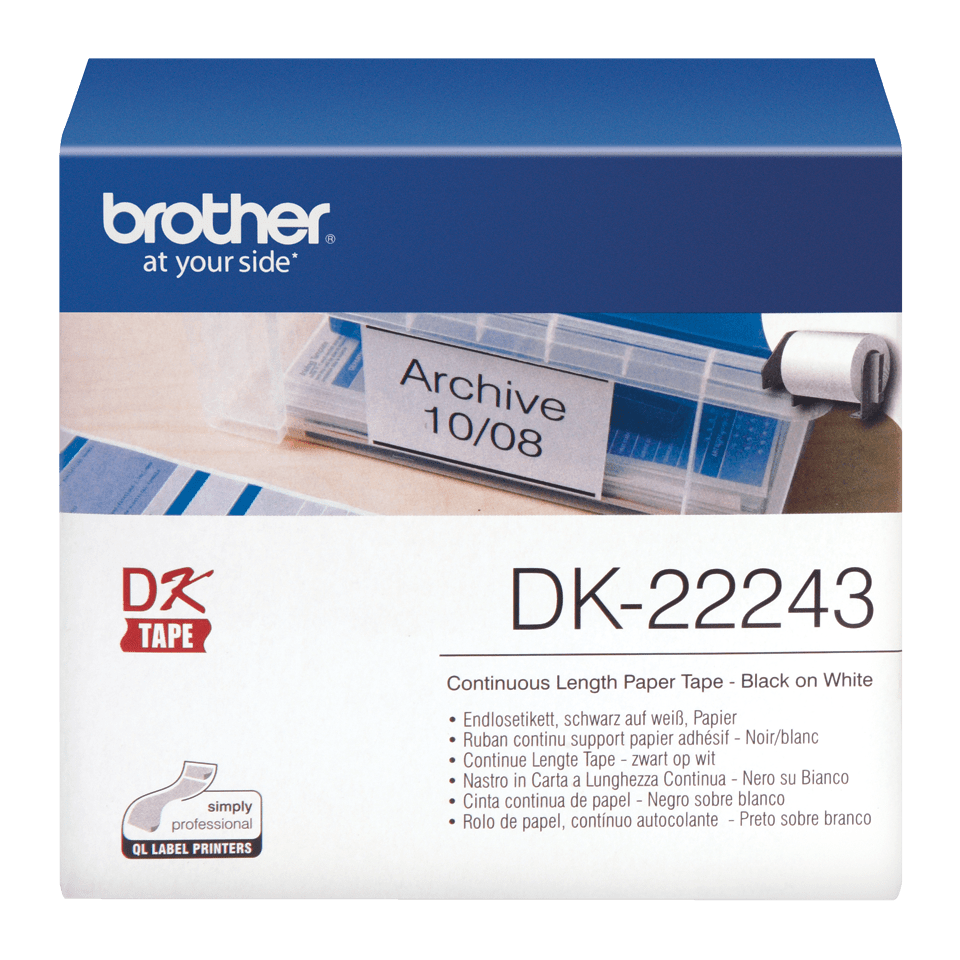 Rouleau de papier continu DK-22243 Brother original – Noir sur blanc, 102 mm de large