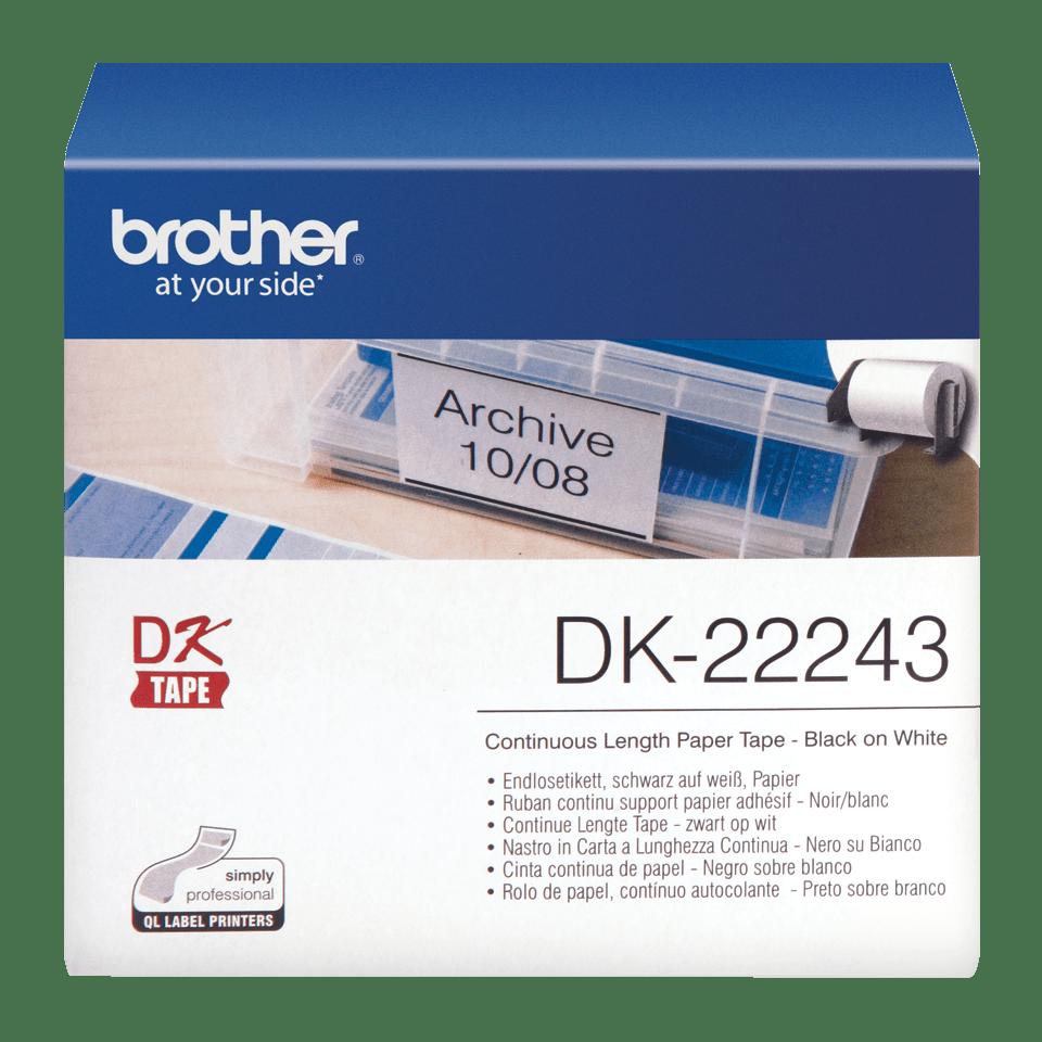 Original DK-22243 Endlosetikettenrolle von Brother – Schwarz auf Weiß, Papier, 102mm breit 0