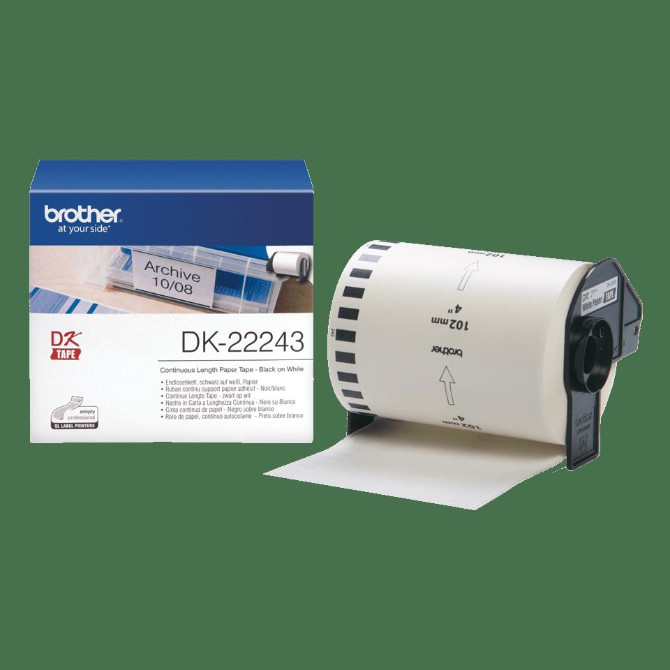Original DK-22243 Endlosetikettenrolle von Brother – Schwarz auf Weiß, Papier, 102mm breit 3
