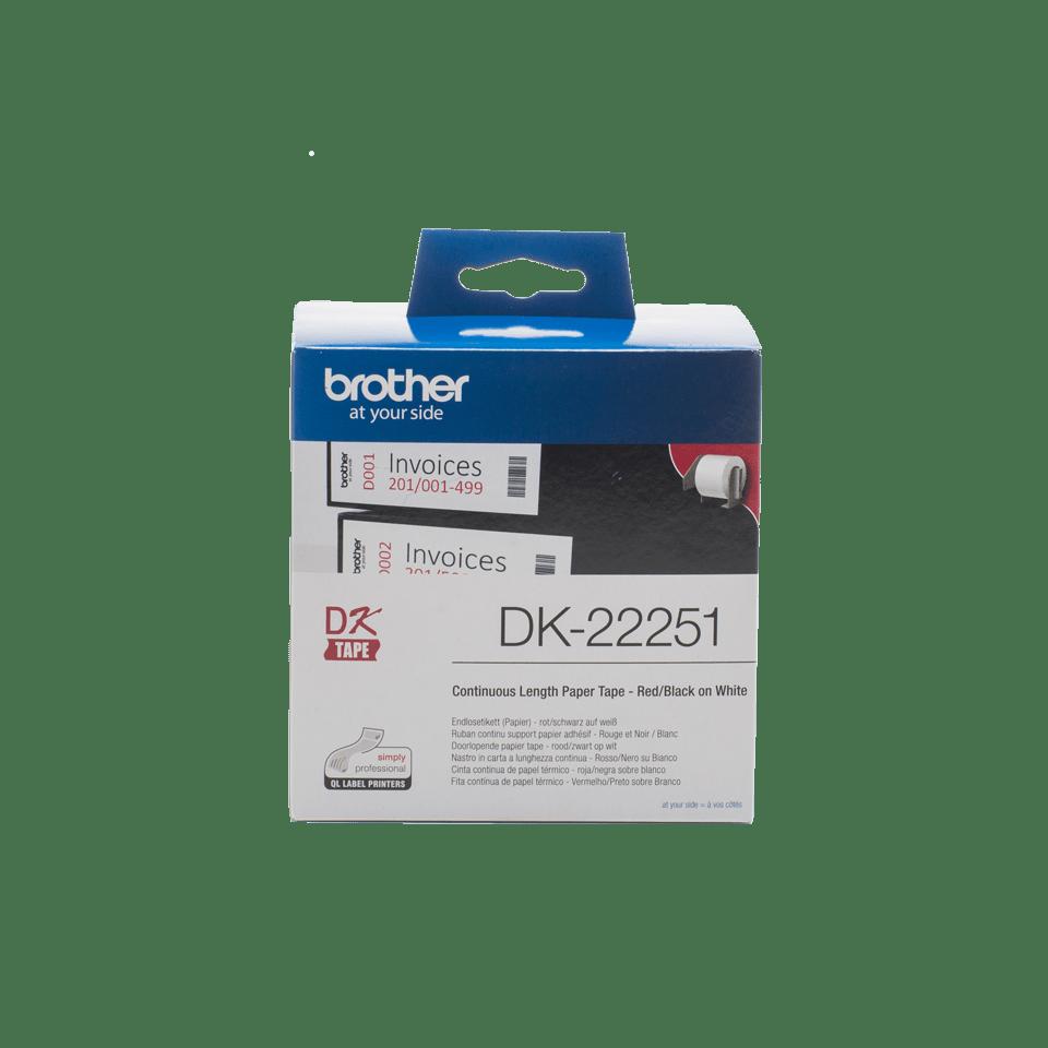 Original DK-22251 Endlosetikettenrolle von Brother – Schwarz und Rot auf Weiß, Papier, 62mm
