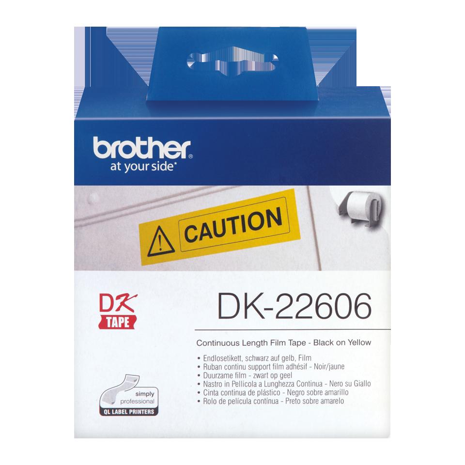 Original DK-22606 Endlosetikettenrolle von Brother – Schwarz auf Gelb, Film, 62mm breit