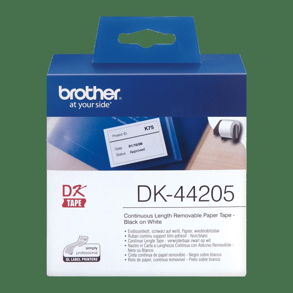 Original DK-44205 Endlosetikettenrolle von Brother – Schwarz und Rot auf Weiß, Papier, wiederablösbar, 62mm