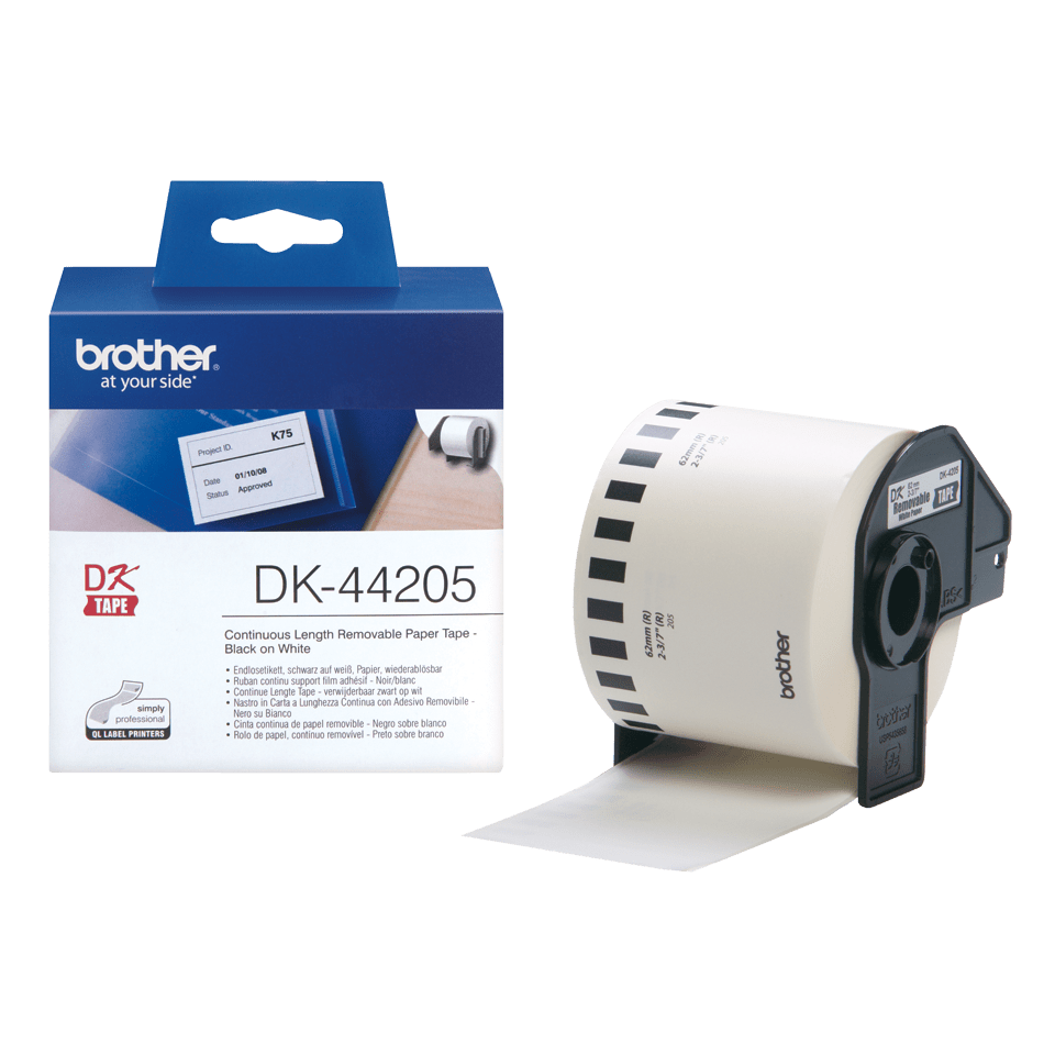 Rouleau de papier amovible DK-44205 Brother original – Noir sur blanc, 62 mm de large 3