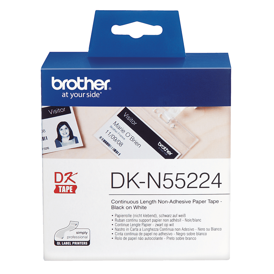 Original DK-N55224 Endlospapierrolle von Brother – Schwarz auf Weiß, nicht klebend, 54mm breit