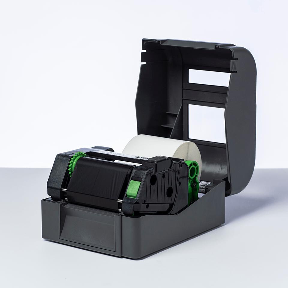 BUS-1J150102-121 Unbeschichtete Etikettenrolle mit vorgestanzten, weissen Thermotransfer-Etiketten 2