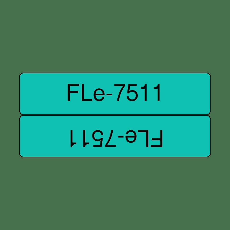 Cassette de ruban d'étiquettes prédécoupées Brother FLe-7511 noir sur vert, largeur 21mm