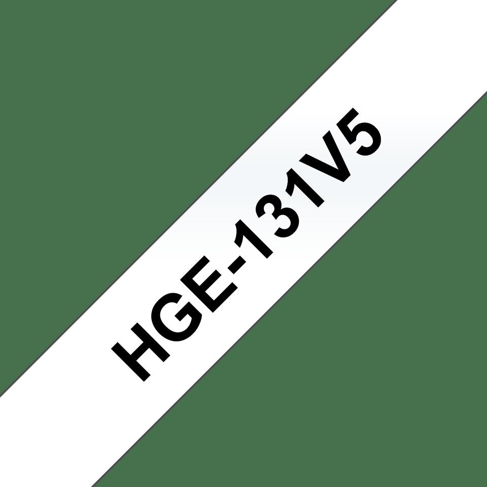 Original HGe-131V5 High Grade Schriftbandkassetten von Brother – Schwarz auf Transparent, 12mm breit