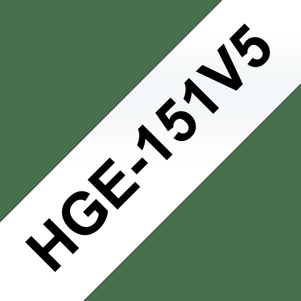 Original HGe-151V5 High Grade Schriftbandkassetten von Brother – Schwarz auf Transparent, 24mm breit