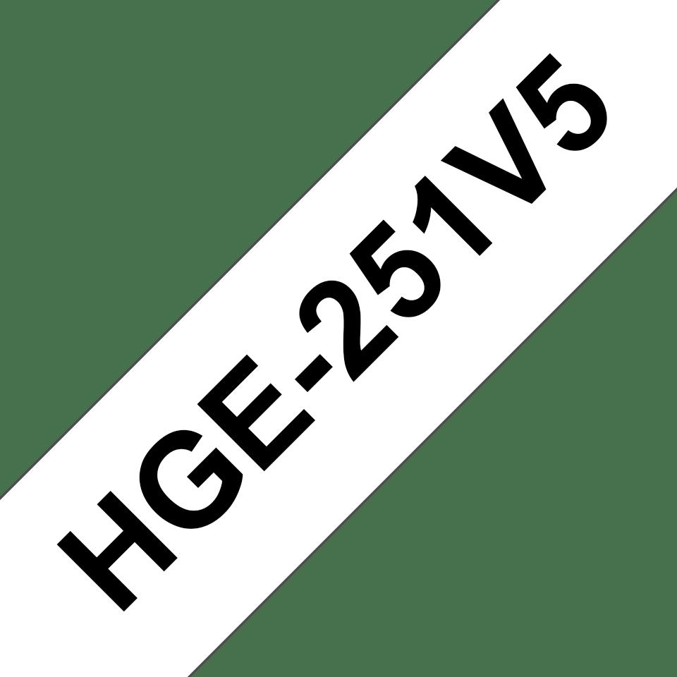 Original HGe-251V5 High Grade Schriftbandkassetten von Brother – Schwarz auf Weiß, 24mm breit